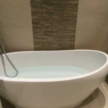 Contemporary Free Standing Bath with Chrome Fittings & Towel Rail