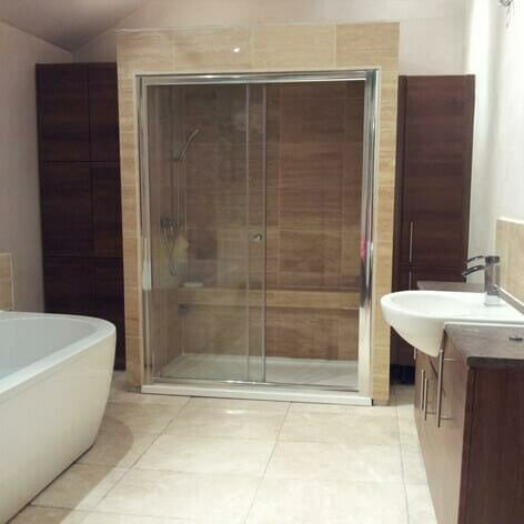 Walk-in Shower with Freestanding Bath & Sink