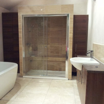 Walk-In Shower Cubicle with Bath & Sink